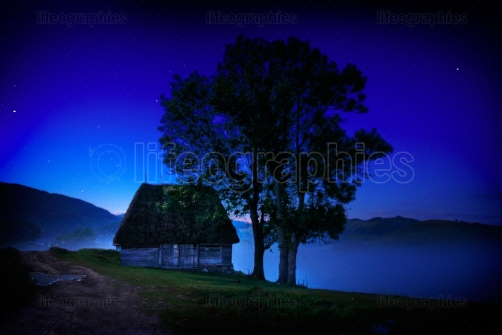 Mountain landscape by night