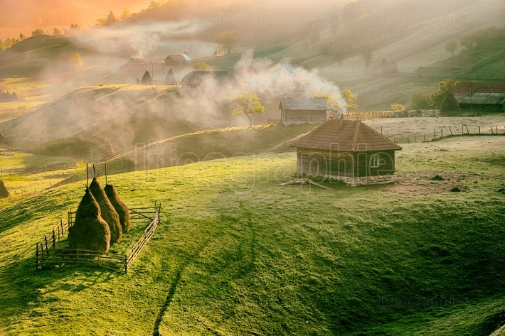 Mountain landscape in summer morning, Romania