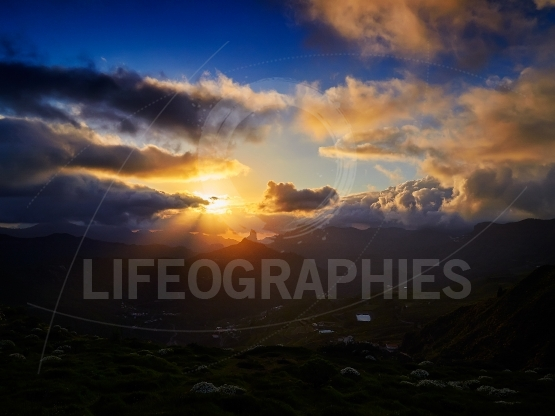 Mountain landscape with Roque Bentayga at sunset, Gran Canaria,