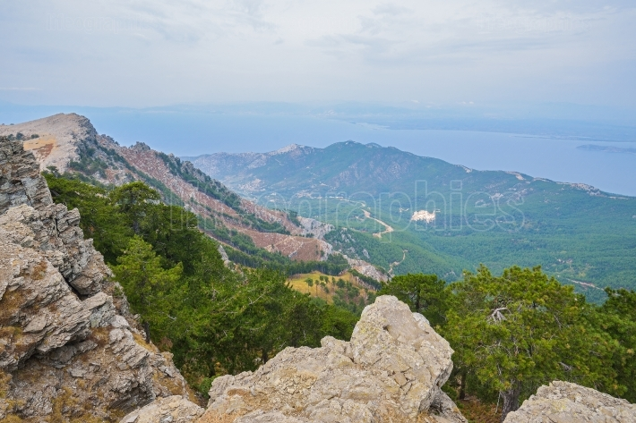 Mountain side of the Thassos Island, Greece