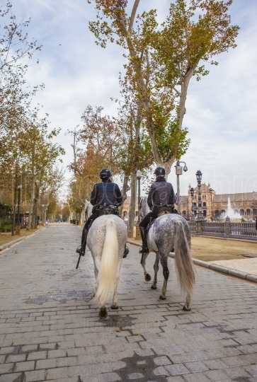 Mounted police at Plaza de Espana, Seville, Spain