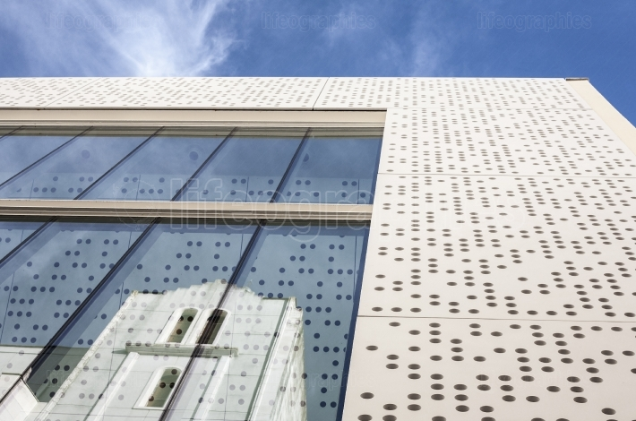 MUBA Museum, prestressed cement and perforated white