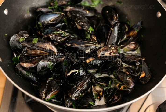 Mussels steamed in pan