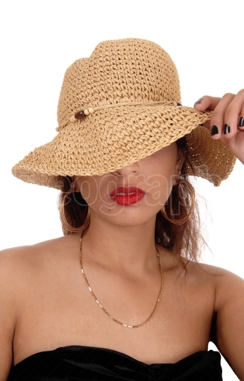 Mystery woman with straw hat