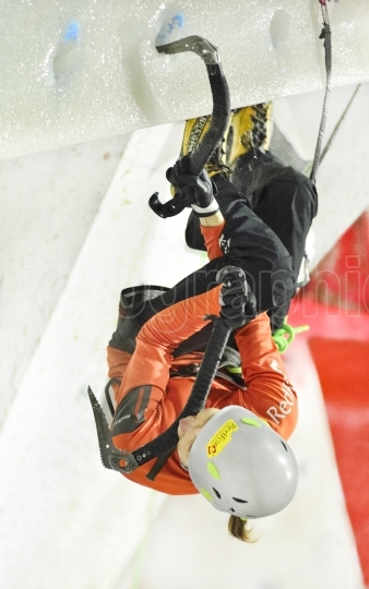 Nadya gallyamova (rusia) at uiaa ice climbing world championship from saas fee 2015