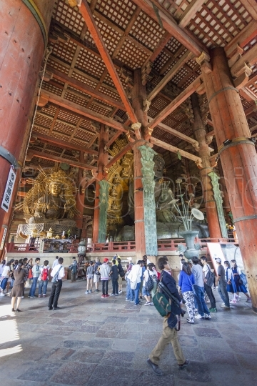 NARA, JAPAN - MAY 11: The Great Buddha in Todai-ji temple onMay