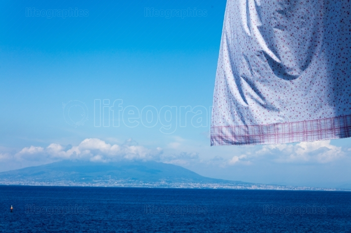 Neapolitan coast fron Sorrento with hanging clothes