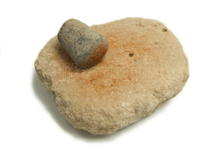 Neolithic hand mill for red ochre dust