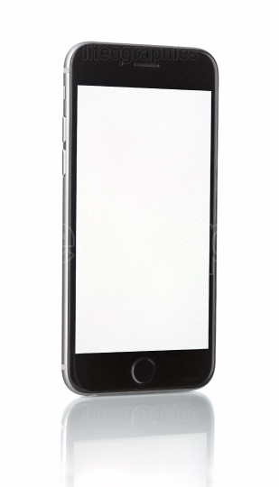 New smartphone with blank screen on white