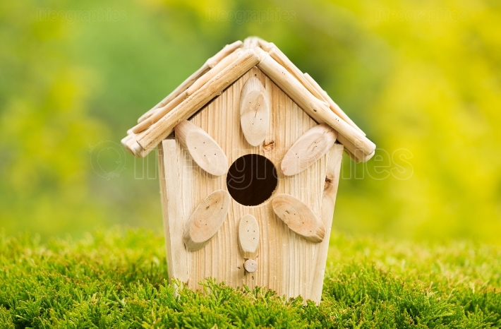 New Wooden Birdhouse Outdoors during daytime