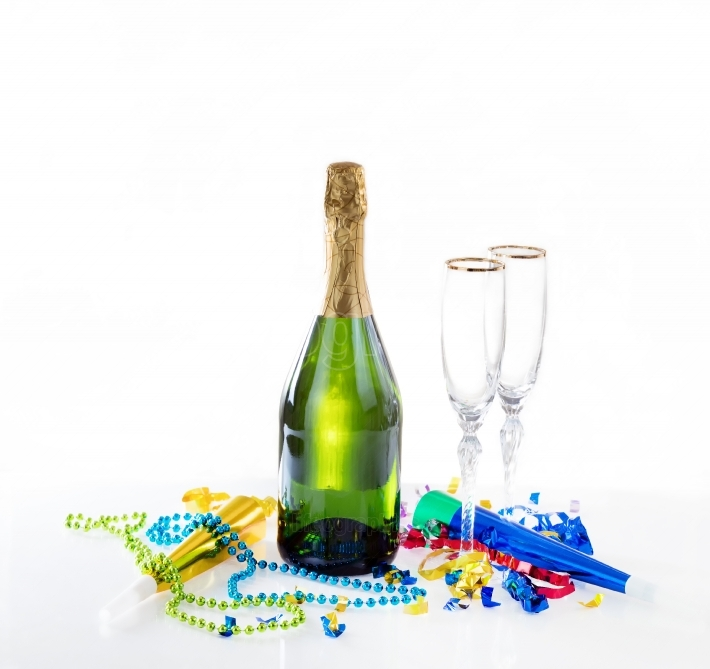 New Year eve party decorations and champagne with drinking glass