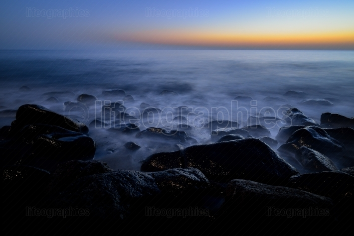 Night long exposure of the rocky atlantic coast in the west part of Gran Canaria island