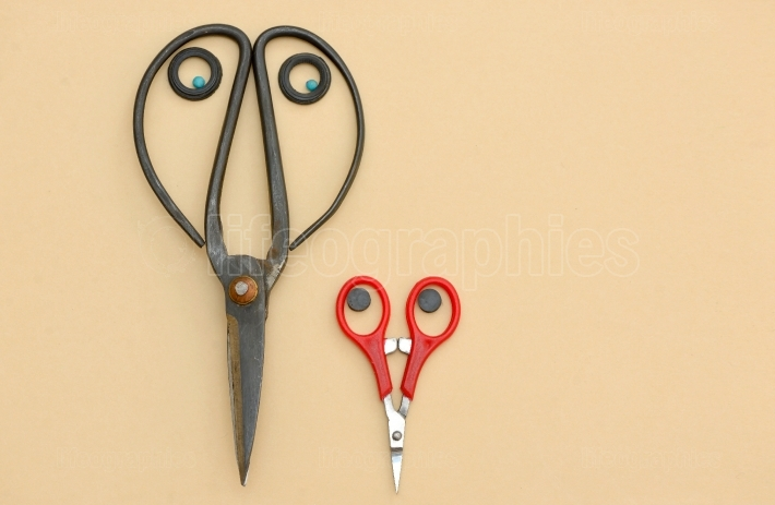 Old and new, young scissors