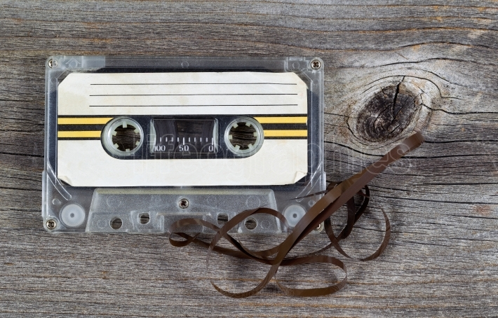 Old Cassette Tape on wood