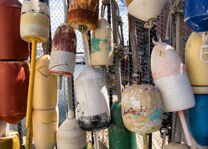 Old colorful Ocean buoys for commercial fishing