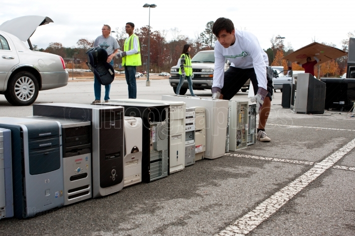 Old Computers Are Stacked At Recycling Day Event