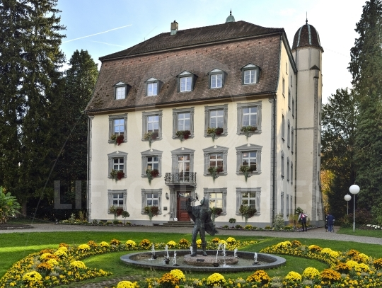Old hotel from stein city at the border with germany , switzerland