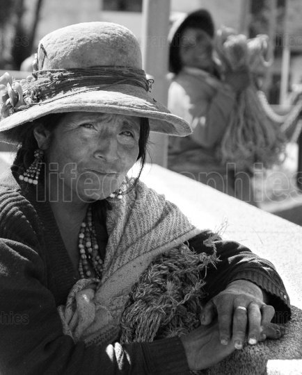 Old lady from Chavin village. Peru