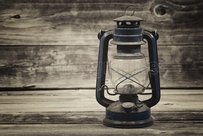 Old Lantern on aged wood