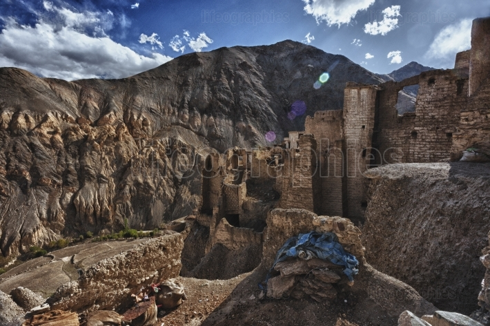 Old ruins of Lamayuru monastery from Leh, Ladakh. India