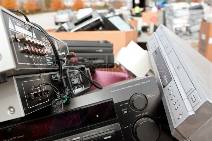 Old Stereos And Electronics Pile Up At Recycling Event