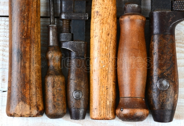 Old Tool Handles Closeup