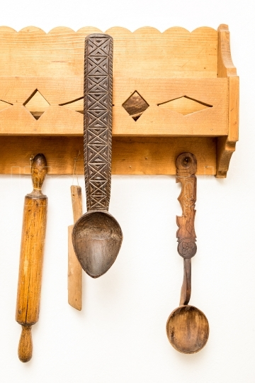 Old wooden kitchen utensils