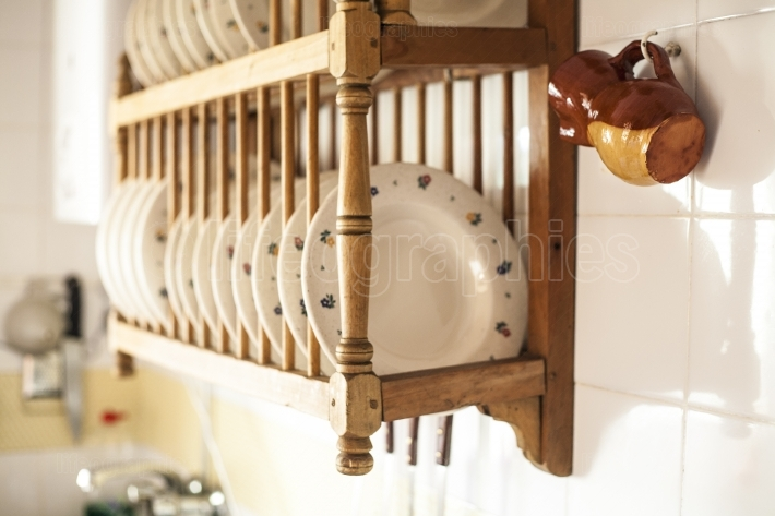 Old wooden plate rack