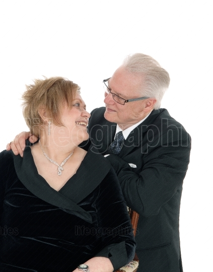 Older couple looking at each