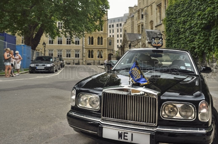 One of the Great Britain Queen Elizabeth Alexandra Mary car in fron of   Westminster Abbey
