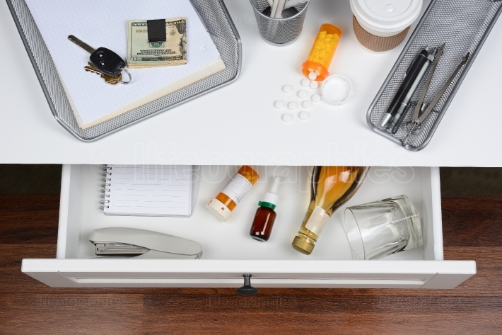 Open Desk Drawer With Booze