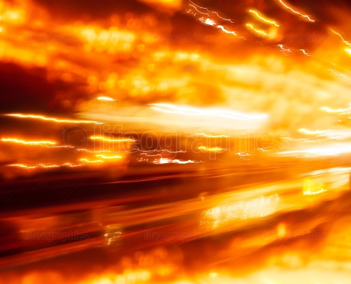 Orange car light trails traces abstraction