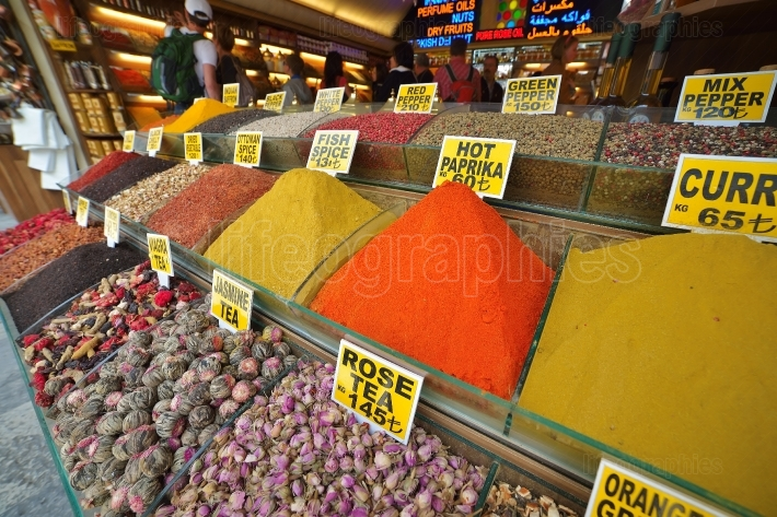 Oriental spices and tea, the Grand Bazaar, Istanbul, Turkey.