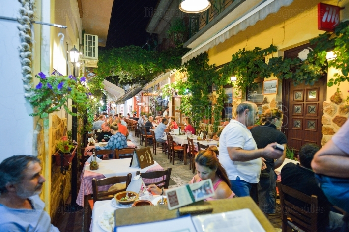 Outdoor taverns by night on thassos island, greece