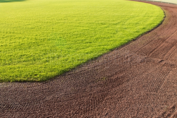 Outfield grass and warning track dirt of baseball field