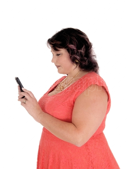 Oversized woman dealing on her cell phone