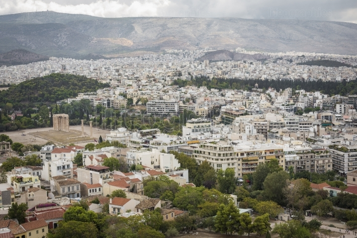Panorama of Athens City, View from the Acropolis hill