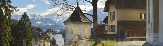 Panorama of Thun Church and Town with Alps and Thunersee