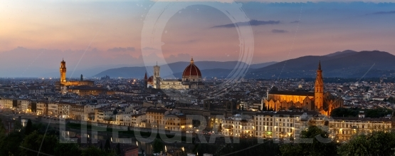 Panoramic sunset over cathedral of santa maria del fiore