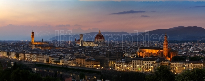 Panoramic sunset over cathedral of Santa Maria del Fiore in Florence