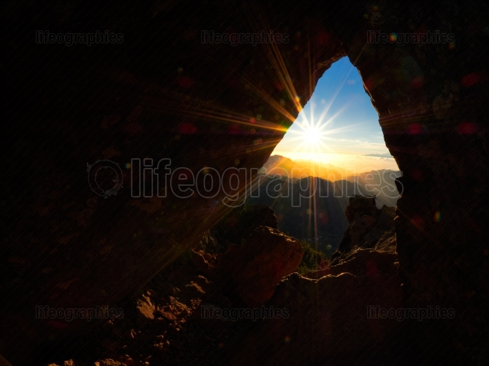 Panoramic view at sunset from Roque Nublo peak on Gran Canaria I