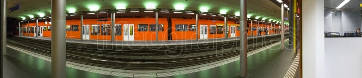 Panoramic view of a fast commuter train S9 from Bern