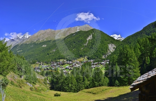 Panoramic view of old village from zermatt