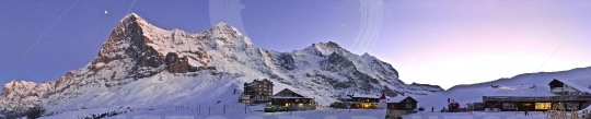 Panoramic view of Ski resort at Kleine Scheidegg with Eiger mountain. Swiss Alps