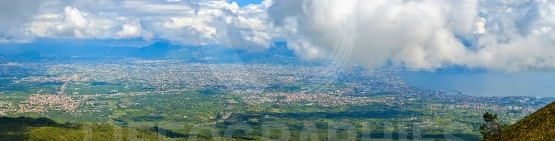 Panoramic view of the city of Naples from mount Vesuvius