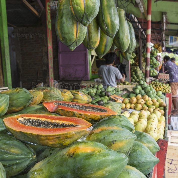 Papaya at tropical market in yogjakarta, indonesia.