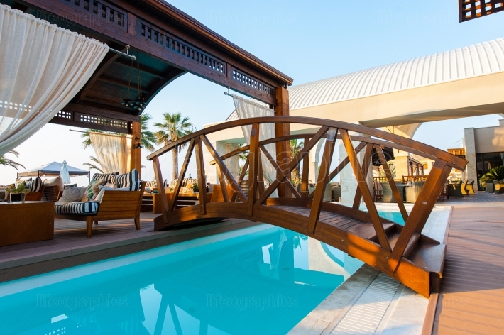 Paralia Katerini, Greece - June 02: Swimming pool of luxury hote