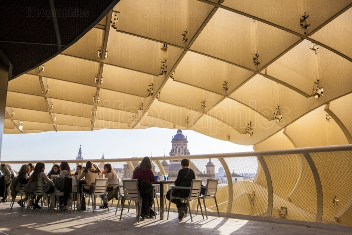 People at cafe viewpoint on Metropol Parasol, Andalusia, Spain