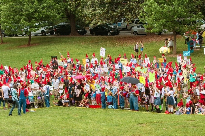 People In Costumes Attempt To Break Record For Gnome Gathering