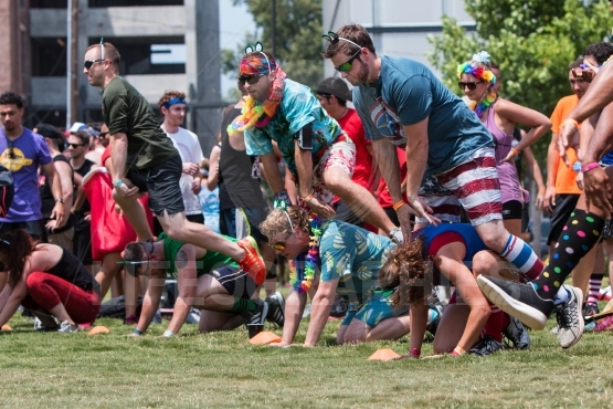 People Play Leap Frog At Atlanta Field Day Event